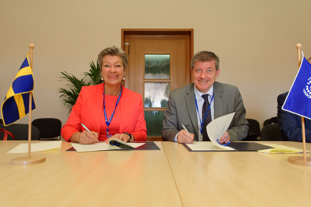Ms Ylva Johansson, Sweden's Minister for Employment and Integration with Guy Ryder, ILO Director-General